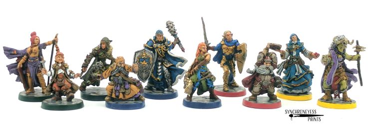 The Intrepid Heroes with color coded bases for each class